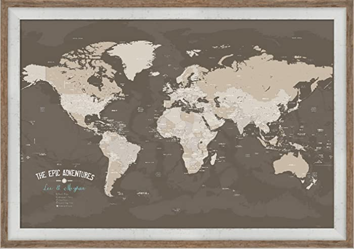 Amazon.com: Framed World Map, World Travel, Adventure map, paper