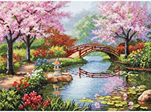 Dimensions Gold Collection Counted Cross Stitch Kit, Japanese Flower Garden, 16 Count Light Blue Aida, 12'' x 16''