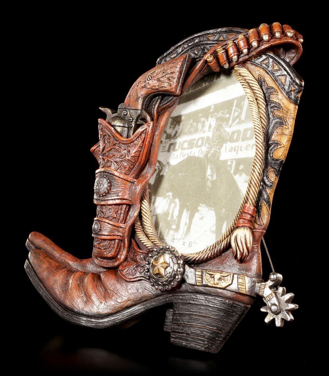 Bilderrahmen Pistole mit Cowboy Stiefel | Wilder Westen Deko: Amazon ...