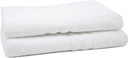 Bianco 550 g//mq ZOLLNER Set di 2 Pezzi d/'Asciugamani Doccia 70x140 cm