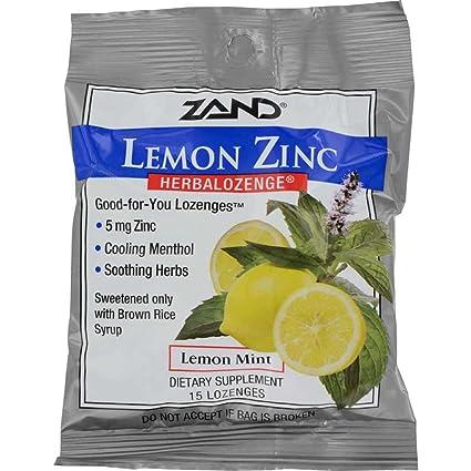 Herbal Lozenge-Lemon Zinc Zand 15 Lozenge, paquete de 12 ...