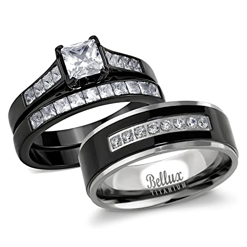 Amazon.com: Bellux estilo masculino y femenino anillo de ...