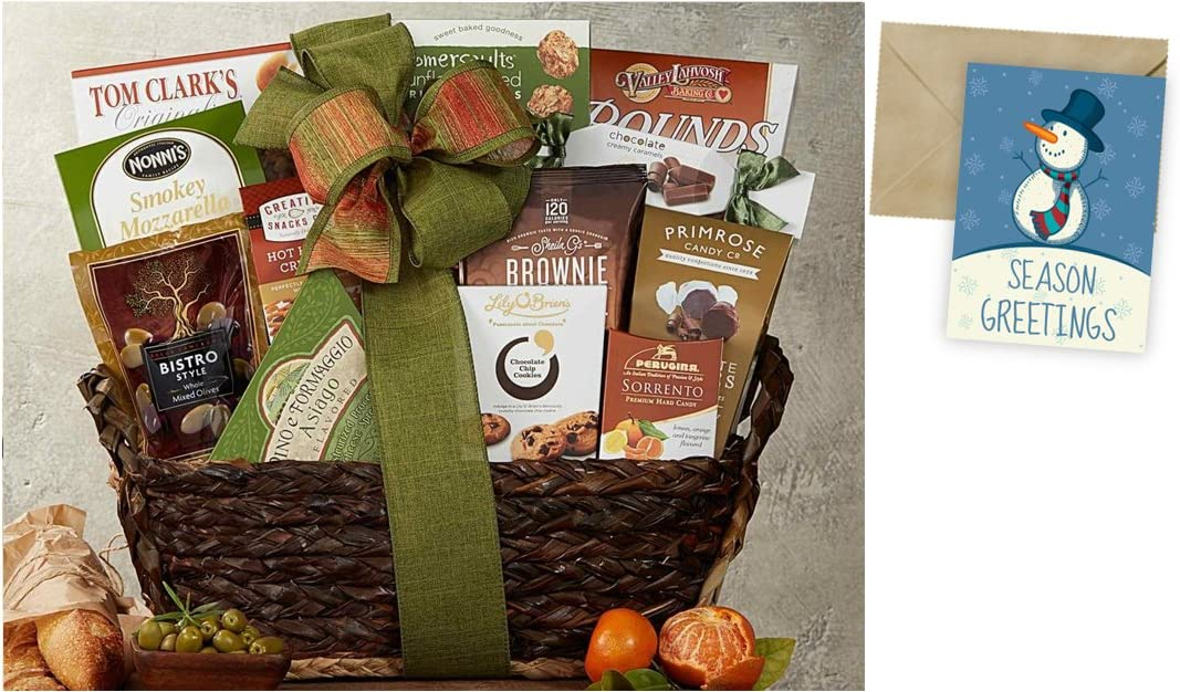 CD3242988 Gourmet Choice Gift Basket for Christmas and personalized card mailed seperately