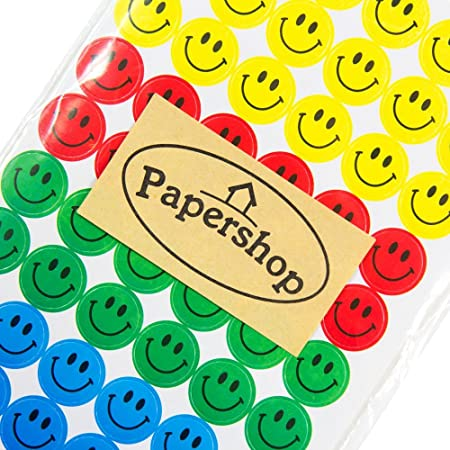 Papershop Smiley Stickers 10 Sheets Yellow Red Green Blue 15cm Diameter Circleround Smilie Face Stickers