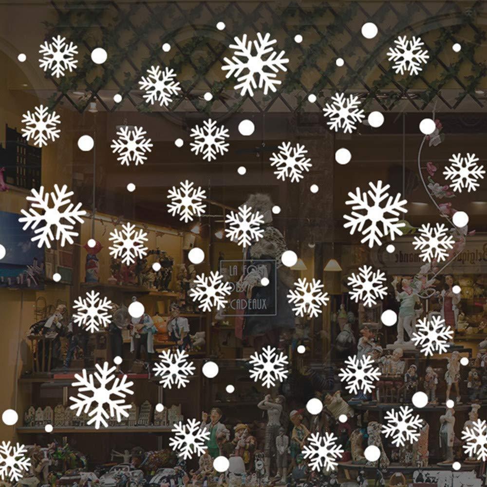 Natale Adesivi Porta Natale Vetrofanie Addobbi Rimovibile Adesivi Statico Fai Da Te Finestra Sticker Decorazione Vetrina Wallpaper Adesivi Per Fiocco Di Neve Baohooya