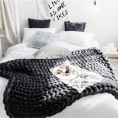 eacho Chunky Knit Blanket Handmade Soft Knitting Throw Bed Bedroom Decor Bulky Sofa Pet Mat, Dark Grey, Bed Throw 40 x59