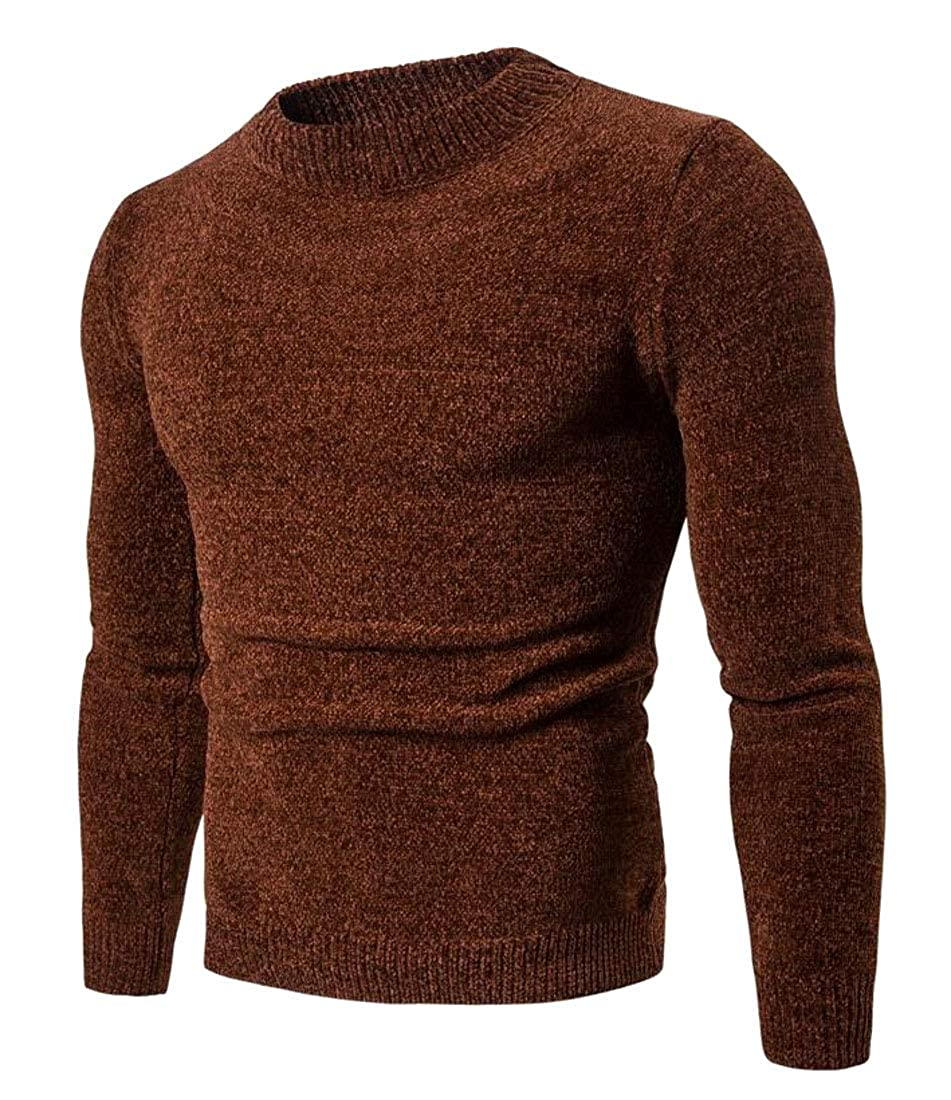 Pandapang Mens Knitted Crewneck Pullover Slim Fit Casual Top Sweaters