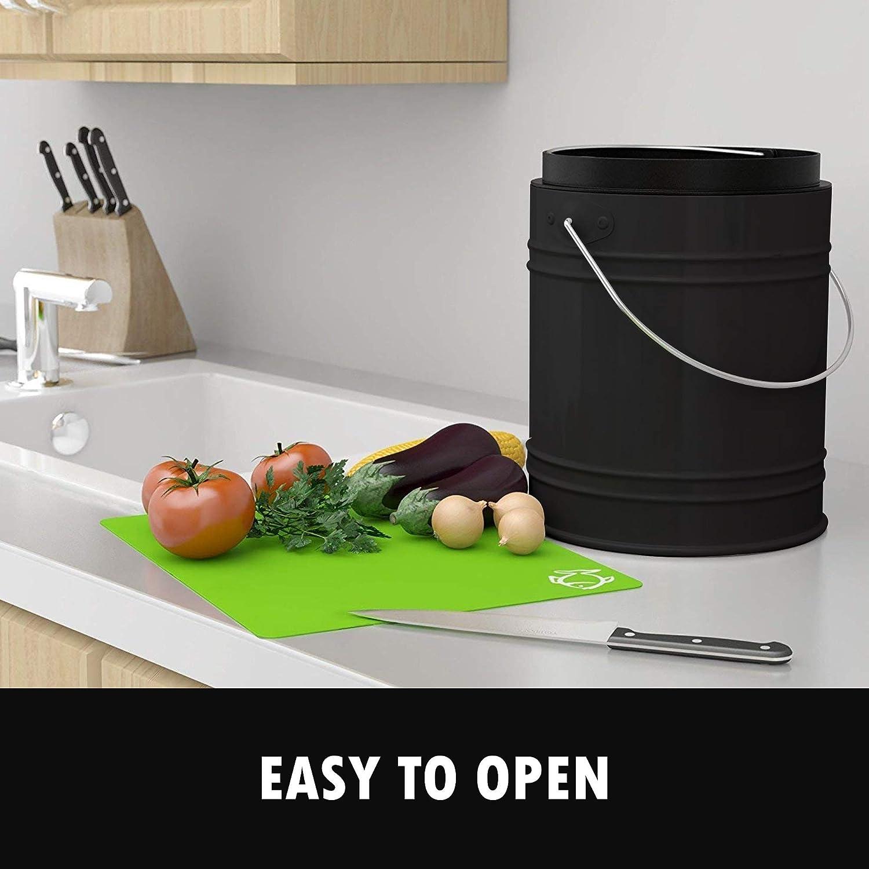 Cubo para Compost de 5 litros con Revestimiento de Pl/ástico y Filtros de Carb/ón en Negro
