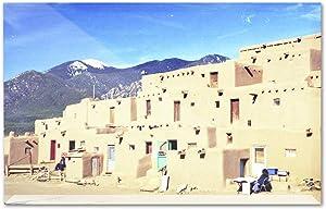 Albuquerque, New Mexico - Taos Indian Adobe Buildings A-9004639 (6x4 Acrylic Photo Block Gallery Quality)