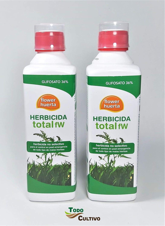 Herbicida Total Glifosato 36% Flower 1 litro (2x500 ml. Tratamiento válido para 100 litros Agua) Aplicación en Post Emergencia de Malas Hierbas, no Residual y no selectivo (Total).: Amazon.es: Jardín