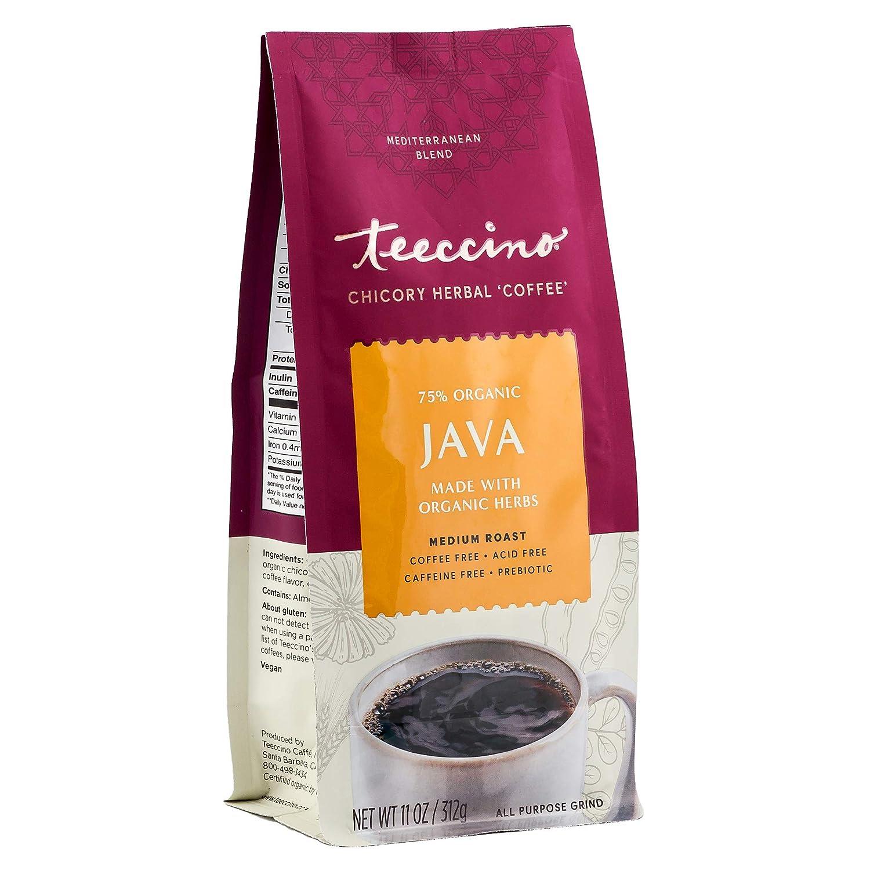 Teeccino Chicory Coffee Alternative - Java - Herbal Coffee | Ground Coffee Substitute | Prebiotic | Caffeine Free | Acid Free | Medium Roast, 11 ounce