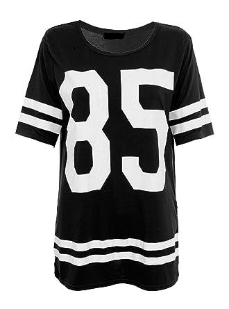 3e756be919 Islander Fashions Womens Manches Courtes 85 Imprim Surdimensionn Baggy Top  Dames Col Rond Ray Baseball T-Shirt S/L: Amazon.fr: Vêtements et accessoires