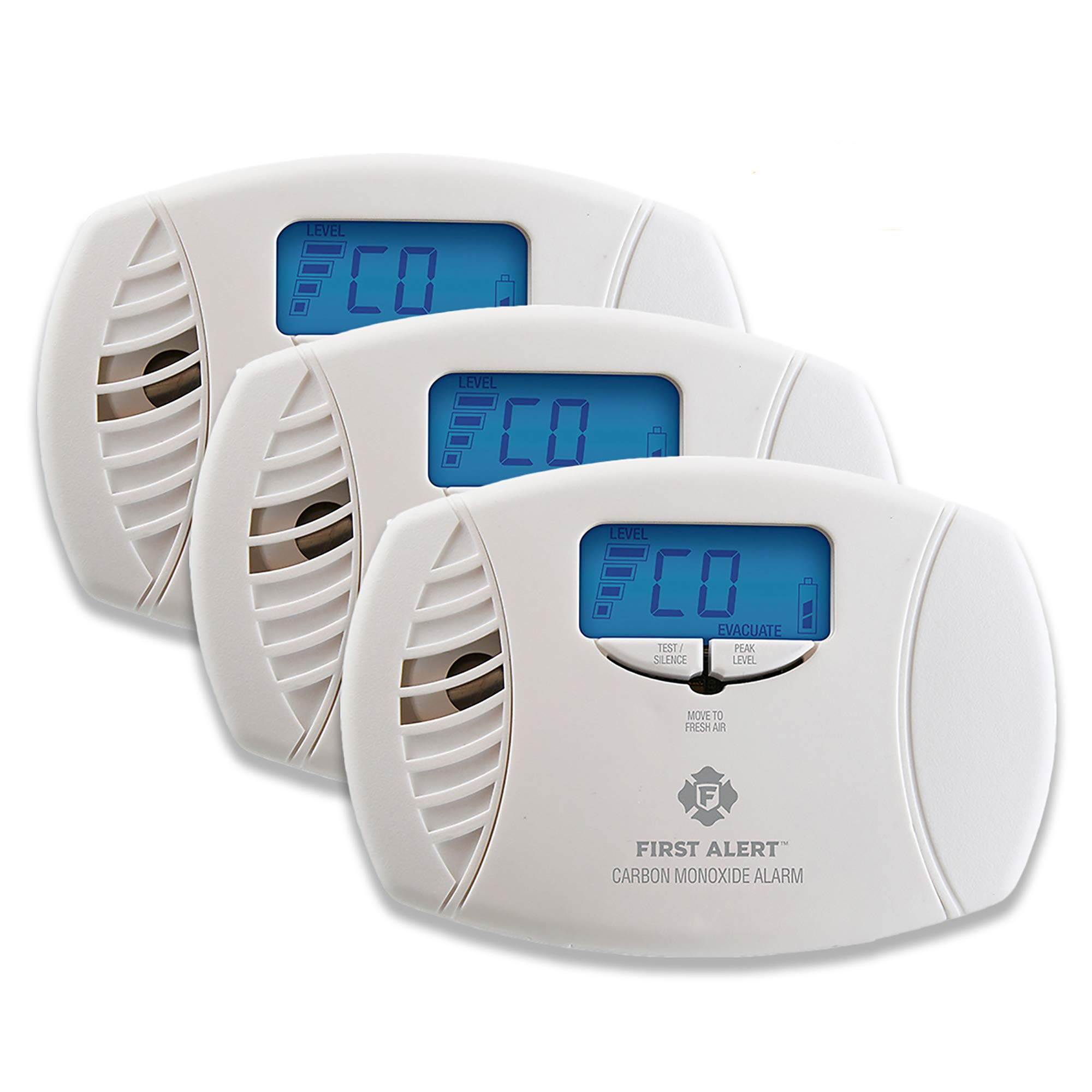 First Alert CO615 Dual-Power Plug-In Carbon Monoxide Detector with Battery Backup and Digital Display, 3-Pack
