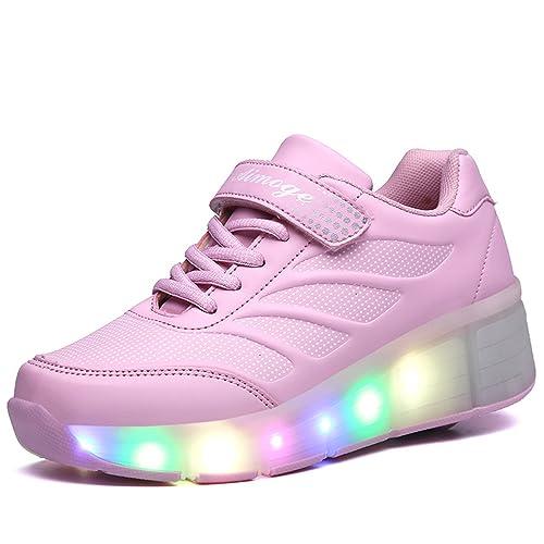 SGoodshoes Hombre Zapatillas con Ruedas LED 7 Colores de Luz Mujer Zapatillas con Luces Zapatos con Ruedas Niños Niñas: Amazon.es: Zapatos y complementos