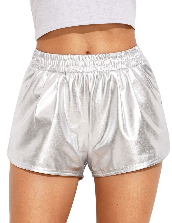 Women's Yoga Hot Shorts Shiny Metallic Pants (Medium, Silver)