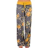 AMiERY Pantalones de pijama informales cómodos, con estampado floral, con cordón y cordón
