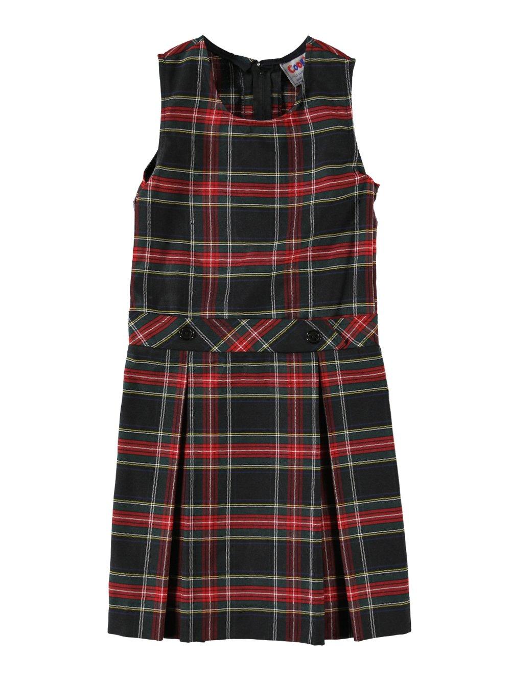 Cookie's Brand Big Girls' Bib Front Jumper with Kick Pleats - black/red/white