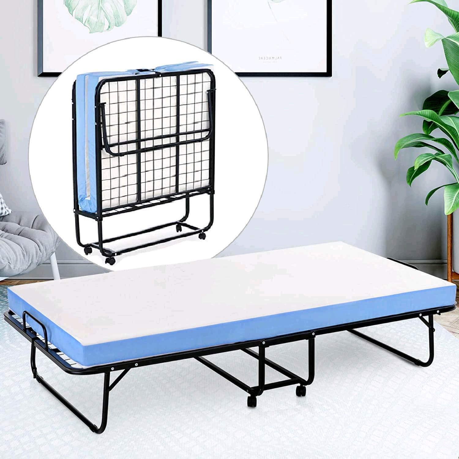 - Amazon.com: Mecor Metal Folding Bed, Rollaway Guest Bed With 4
