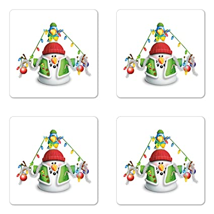 Amazon Com Ambesonne Snowman Coaster Set Of Four Cartoon Whimsical