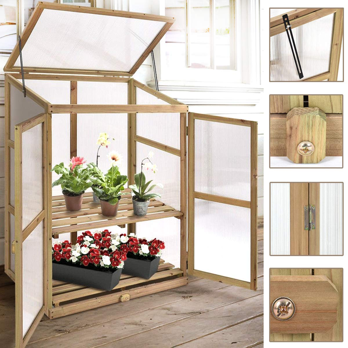 Garden Portable Wooden Greenhouse Cold Frame for Raised Flower Planter Protection 30.0'' Long x 22.5'' Wide x 43'' High