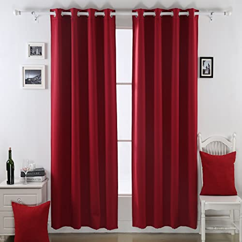 Deconovo Fleece Thermal Insulated Blackout Curtain, 52×95, Jester Red, 2 kg