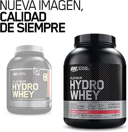 Optimum Nutrition Platinum Hydro Whey, Proteinas Whey en Polvo, Proteina de Suero para Masa Muscular y Musculacion, Fuente de BCAA, Fresa, 40 ...