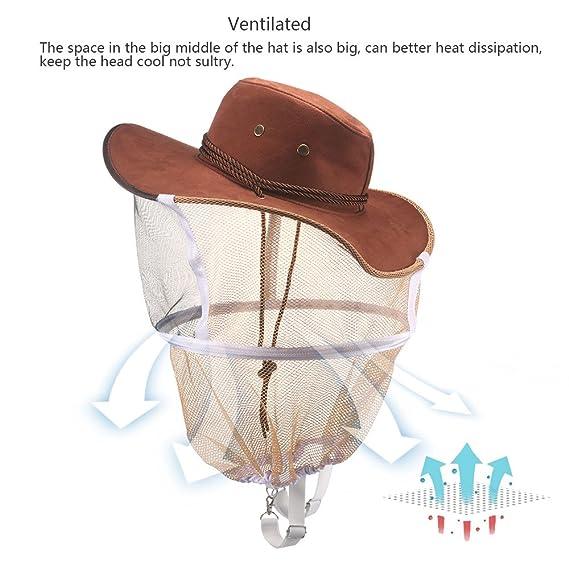 ONEVER Sombrero de Abeja - Sombrero de Velo de Apicultura Protector Casco de Sombrero Anti-Abeja, Protector de Cabeza Portátil para Apicultor, para la Pesca ...