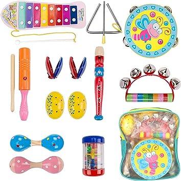 Dkinghome Instrumentos Musicales para Bebés, Conjunto de Juguetes Musicales de Madera para Niños Pequeños, Juguetes Educativos Regalos con ...