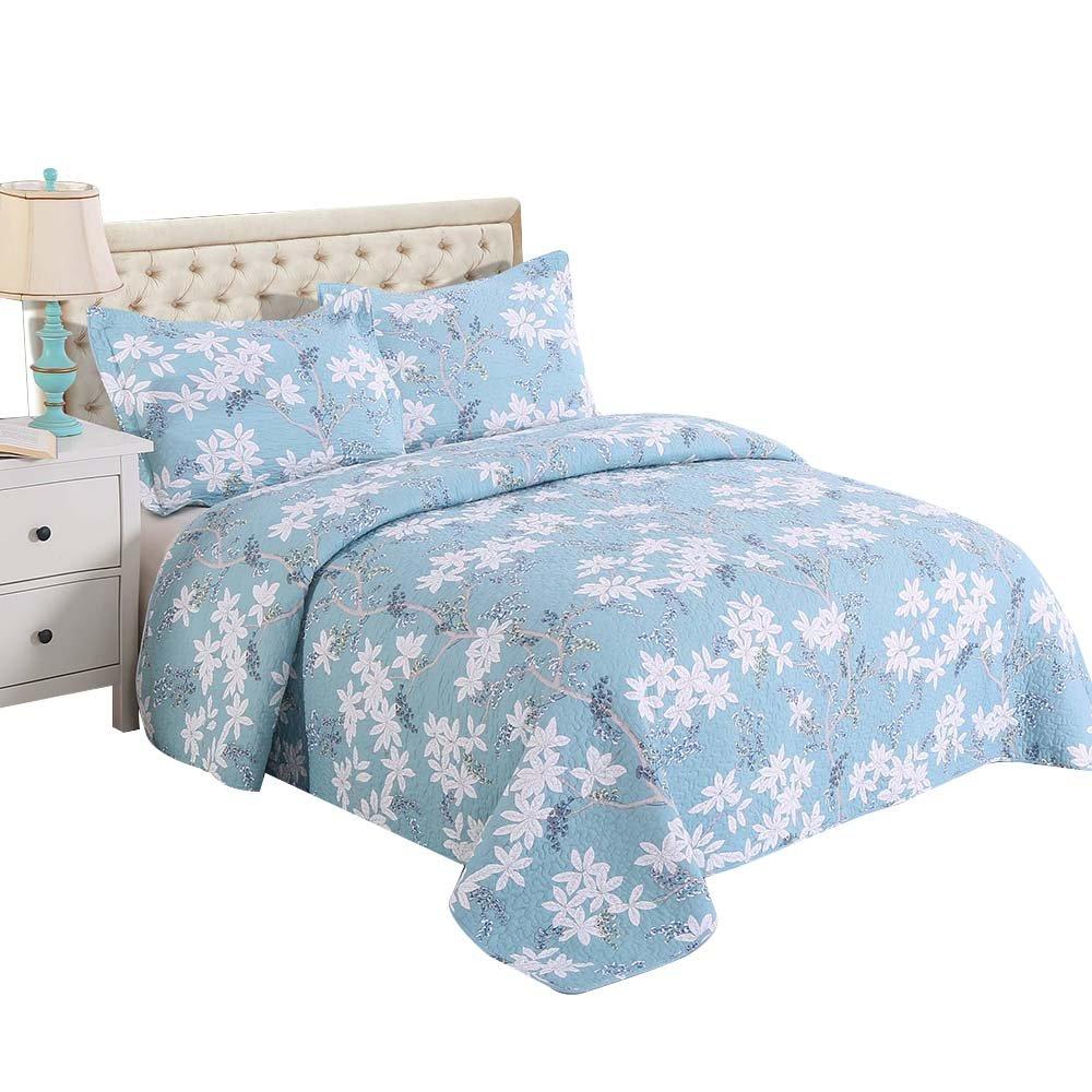 Alibasis Cotton Bedspread Quilt Sets, Reversible Floral Pastoral Coverlet Pattern Set, Queen Size, 3-Piece