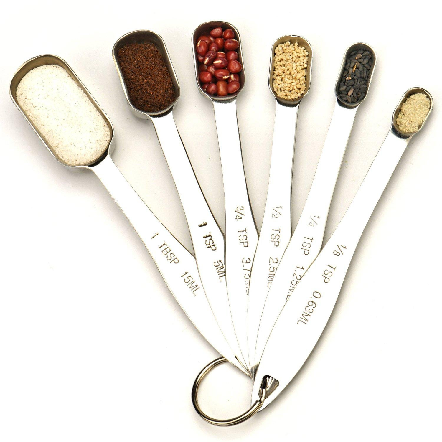 KOBWA Stainless Steel Measuring Spoons,Set of 6 Measuring Spoons for Dry & Liquid Ingredients Narrow Shape to Fit in Spice Jars with Engraved,Round,Silver