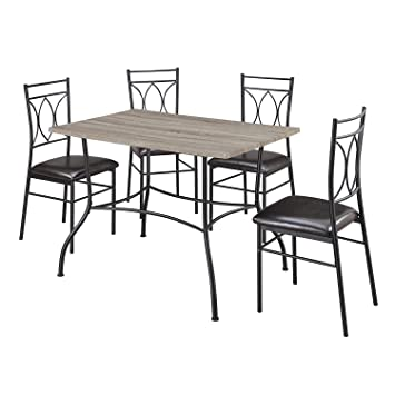 Dorel Living Shelby 5 Piece Rustic Wood And Metal Dining Set, Espresso