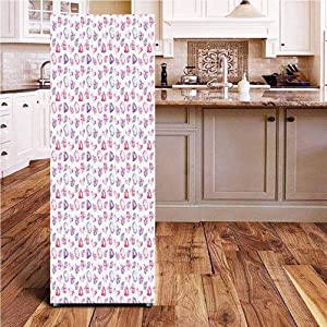 Angel-LJH Diamonds 3D Door Wall Fridge Door Stickers Mural,Crystals of Many Colors Pear Oval and Heart Shaped Illustration Watercolor Wallpaper Murals Stickers for Refrigerator,24x59