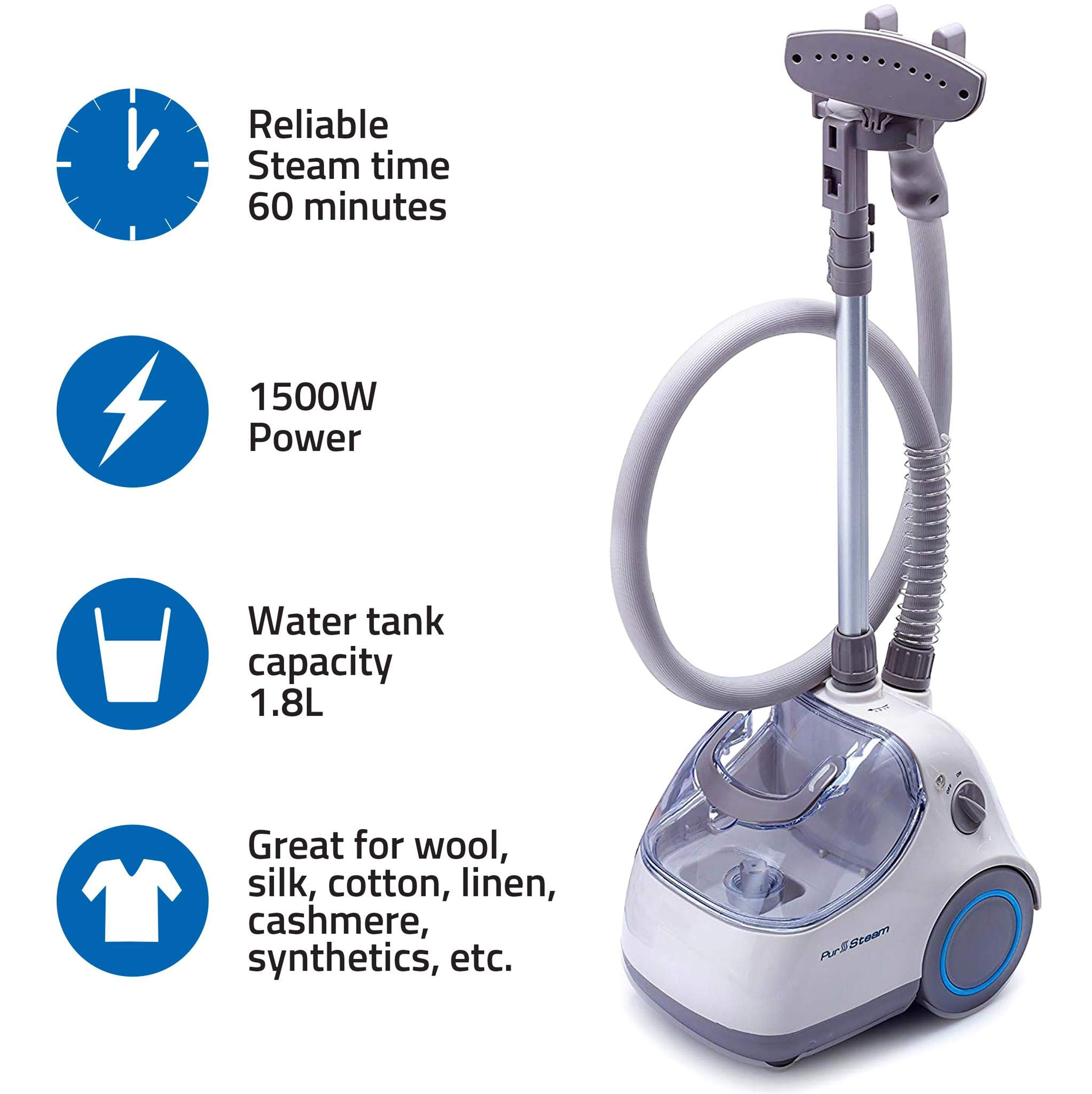 PurSteam Elite Garment Steamer By, Heavy Duty Powerful Fabric Steamer with Fabric Brush and Garment Hanger by PurSteam