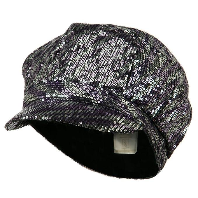 Amazon.com: Poliéster Lentejuelas Newsboy Cap – Púrpura ...