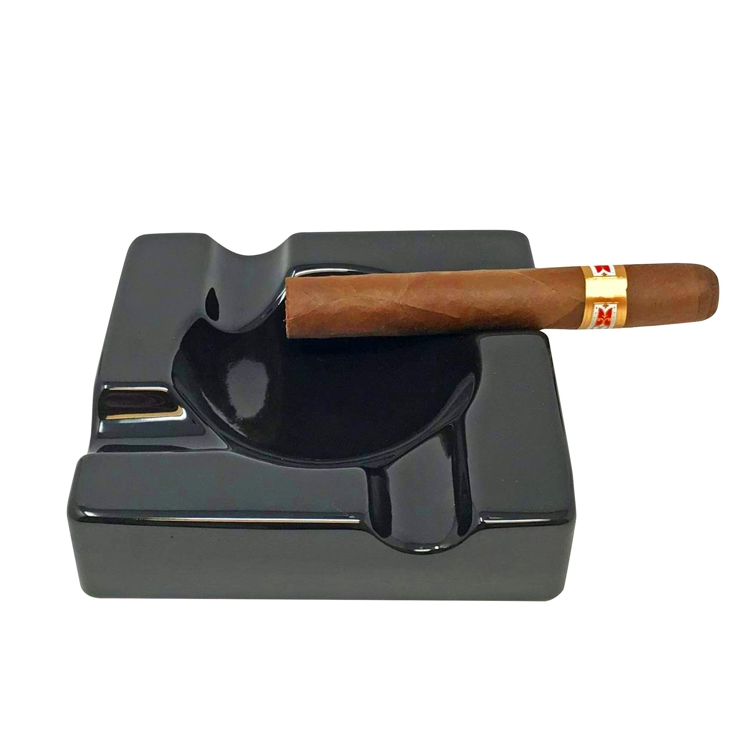 Cigar Ashtray Outdoor Cigarette Ash Tray - 5.9 inch Ceramic Ashtrays Black Glossy Cigar Rest for Indoor, Outdoor, Patio, Home, Office Use - Cigar Accessories Gift Set for Men and Women by Duido