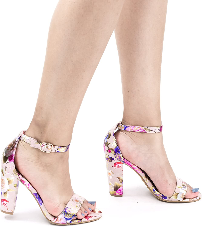 Metallic Floral Ankle Wrap Sandal On High Block Heel
