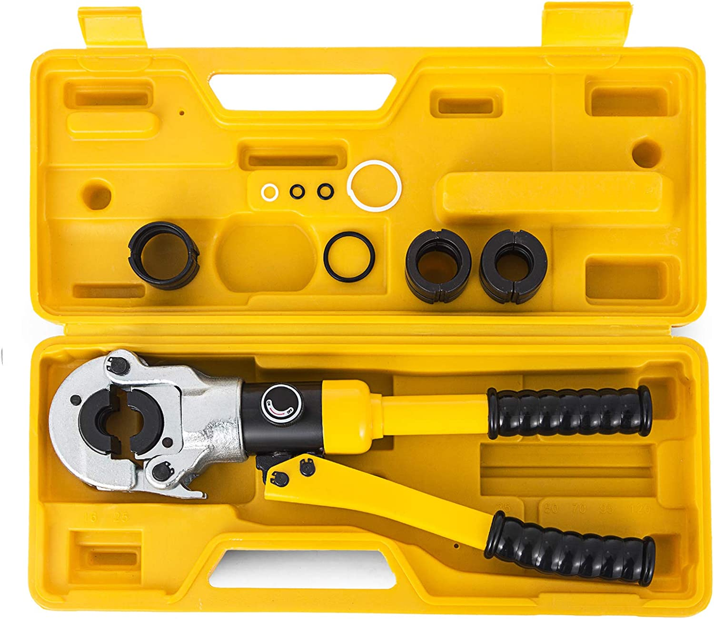 VEVOR Alicates Prensadores de Tuberías Dimensiones de la Tubería 16-32 mm Alicates de Presión para Tubos Compuestos Cabeza 360° Giratorio, Maquina Multicapa, con 5 Piezas de Cobre 16, 20, 25, 32 mm