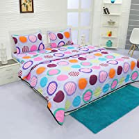 Aurome - Microfiber 4 Pc All Season Comforter Set (120 GSM) , 1 Double Bed Comforter + 1 Double Bedsheet + 2 Pillow Covers (Colorful Confetti)