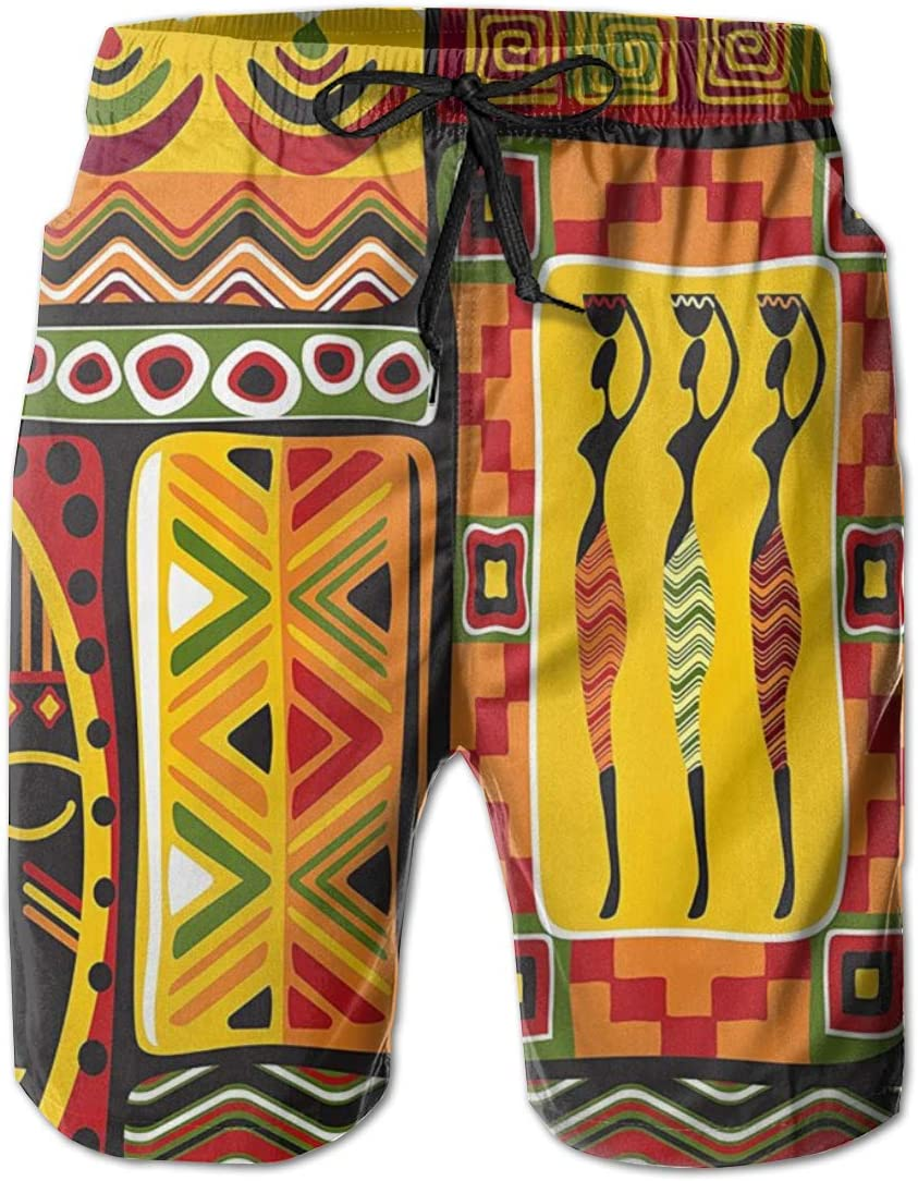 Jiqnajn6 African Elements Decorative Historical Original Striped Mens Swim Trunks Quick Dry Summer Surf Beach Board Shorts with Mesh Lining//Side Pockets