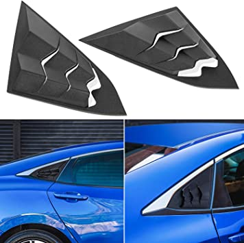 ABS Sun Shade Windshield Cover Matte Black Compatible with Civic Sedan 2016-2020 2 PCs Side Window Louvers for Honda Civic 2016-2020