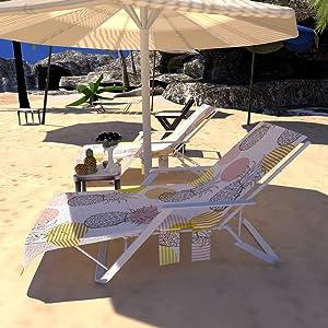 BeachChairCover,LoungeChairCoverMicrofiberBeachTowelSwimmingPoolLoungeChairCover,ChaiseLoungeChairCoverSunLoungerwithPocketsforPool,Vacation,SunbathingFastDryingTerryTowel