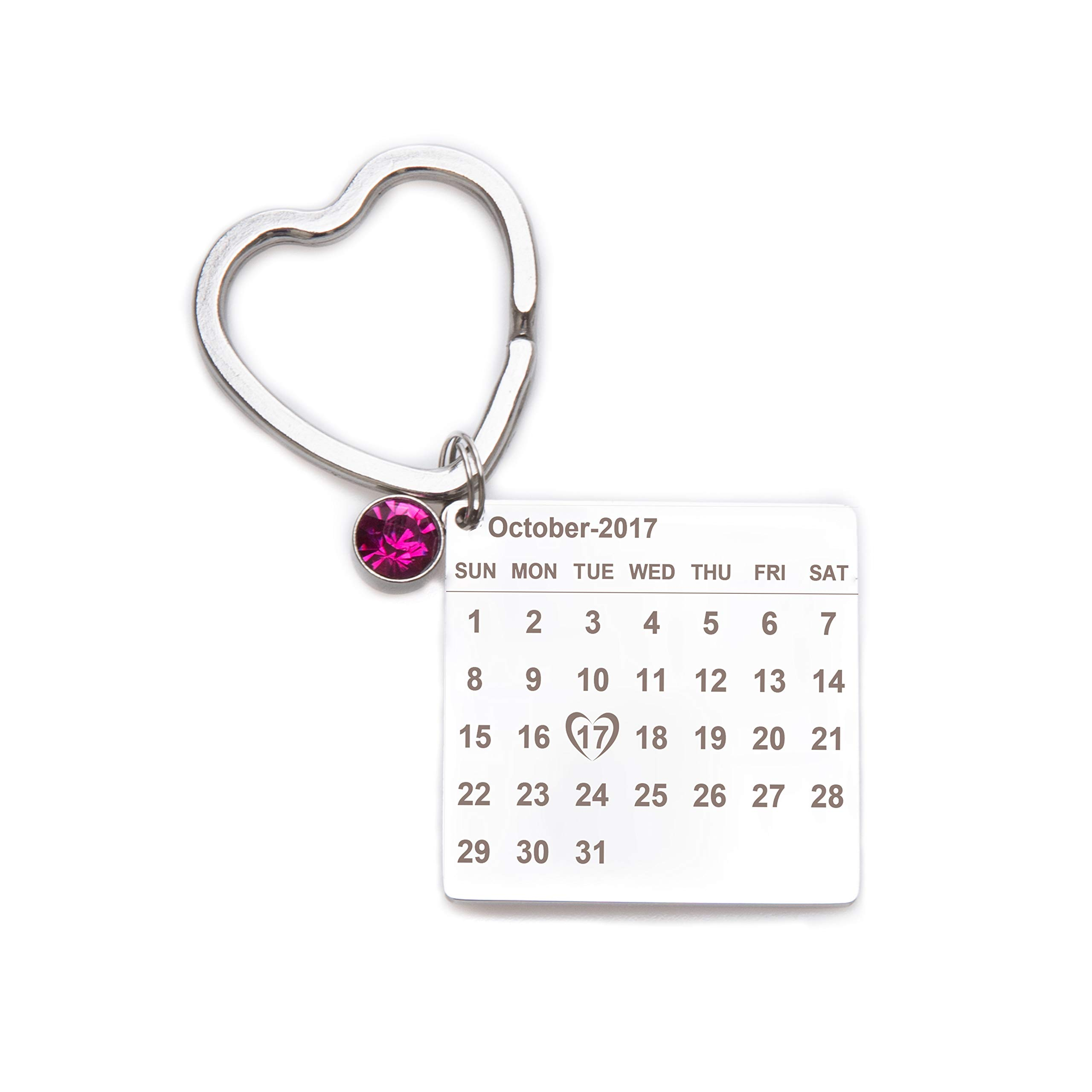 Fanery Sue Custom Calander Keychain Personalized Birthstone Special Day Anniversary Love Key Ring for Couples Best Friends Families(Oct.)