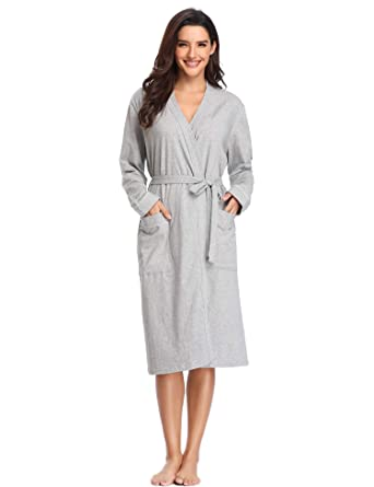 Lusofie Robes for Women Cotton Kimono Knit Long Sleeve Sleepwear Short  Bridesmaids Spa Bathrobe with Pockets af3bfef4d