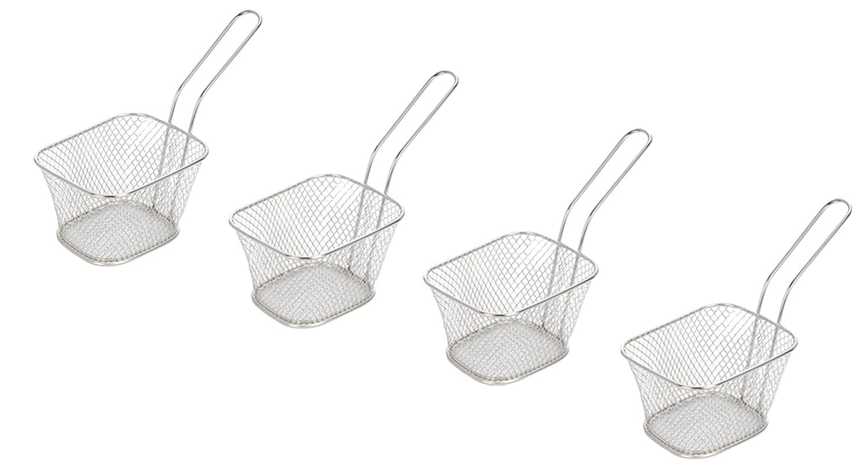 Set of 4 Mini Chip Baskets Mini Fryer Serving Food Presentation ...