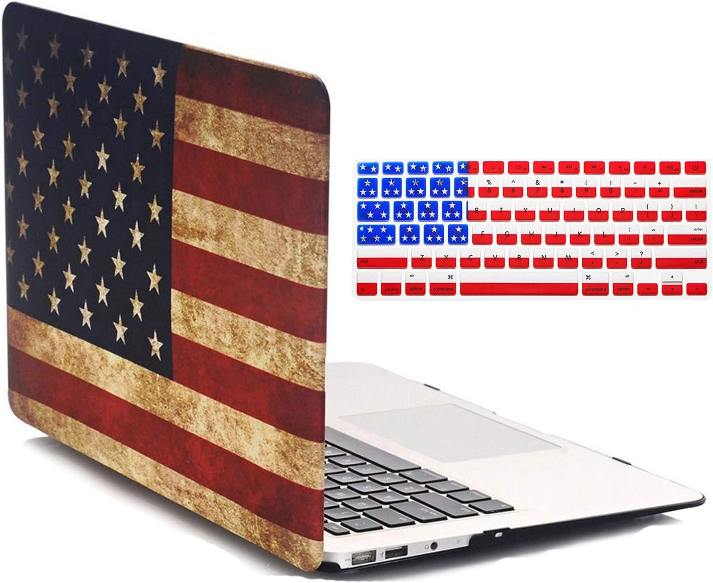 Old MacBook Air 13 Inch Case A1466/A1369 Release 2017/2015/2014/2013/2012/2011/2010, iZi Way National Flag Hard Shell Folio Case Cover for Mac Air 13 with American Flag Keyboard Cover - US Flag