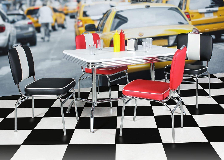 Esstisch 120 x 80 cm American Diner Weiß Alu Design Retro USA Bistrotisch Metall
