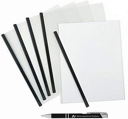 5-Pack fundas Informe Con Encuadernación de barra y una ventaja libre cromo y negro Custom Retractable Pen: Amazon.es: Oficina y papelería