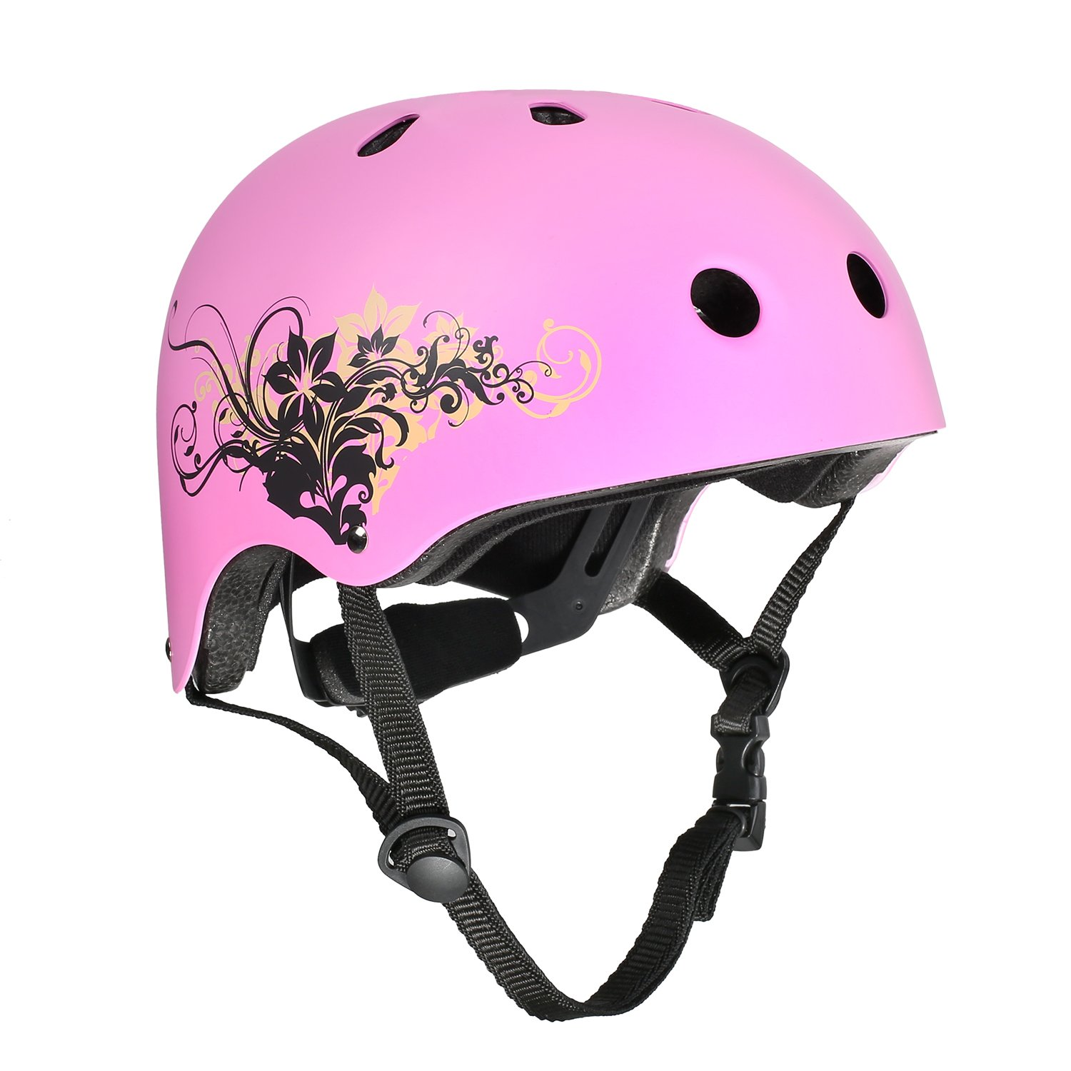VOKUL Skate Helmet CPSC ASTM Certified Impact Resistance Ventilation for Kid/Youth/Adult Skateboarding Inline Skating Cycling and Other Outdoor Sports (Pink, S)