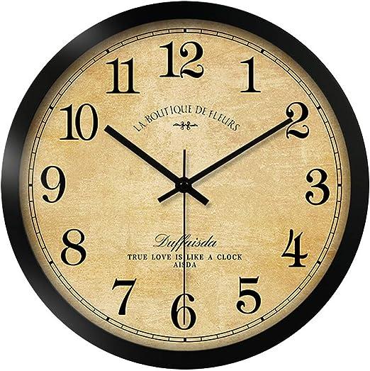 LE Reloj De Pared Vintage Redondo Números Arábigos Silenciados Sin ...