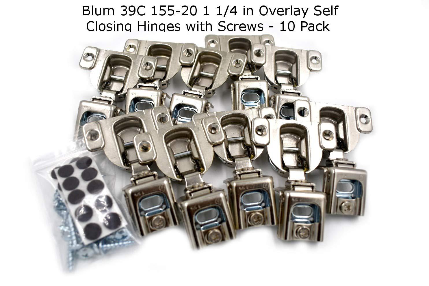 10 Pcs (5 Pairs) Blum 39C155-20 1/4 in Overlay Hinge (self Closing) Screw on Type with Screws
